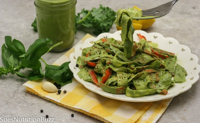 Black Walnut Kale Pesto with Zucchini Fettuccine #SundaySupper