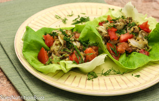 Cabbage Venison Lettuce Wraps With Fresh Herbs  #SundaySupper