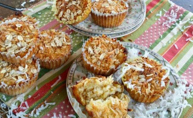 Tropical Banana Pineapple Coconut Muffins #SundaySupper #GlutenFree