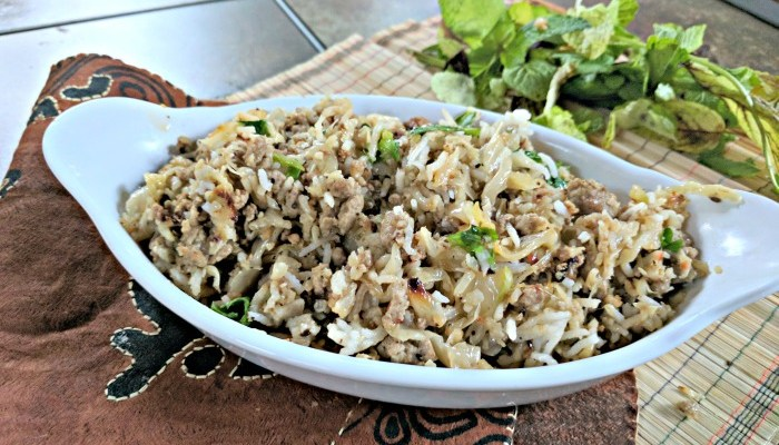 Low Carb Cauliflower Rice Pilaf with Ground Beef & Cabbage #SundaySupper