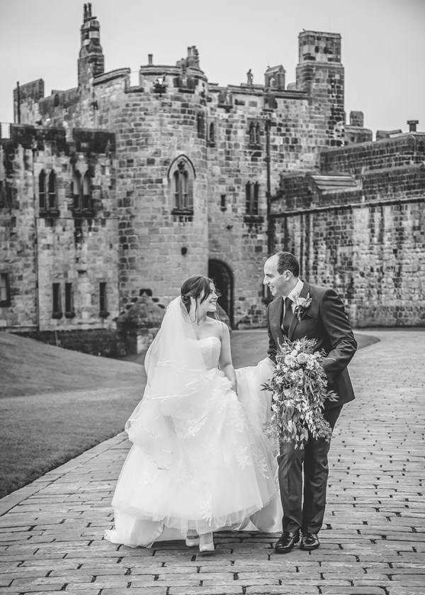 alnwick castle black white wedding
