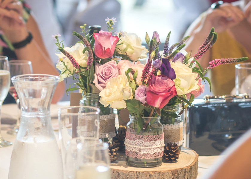 wedding detail alnwick table flowers