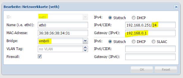 Proxmox Netzwerkkarte im Container hinzufügen