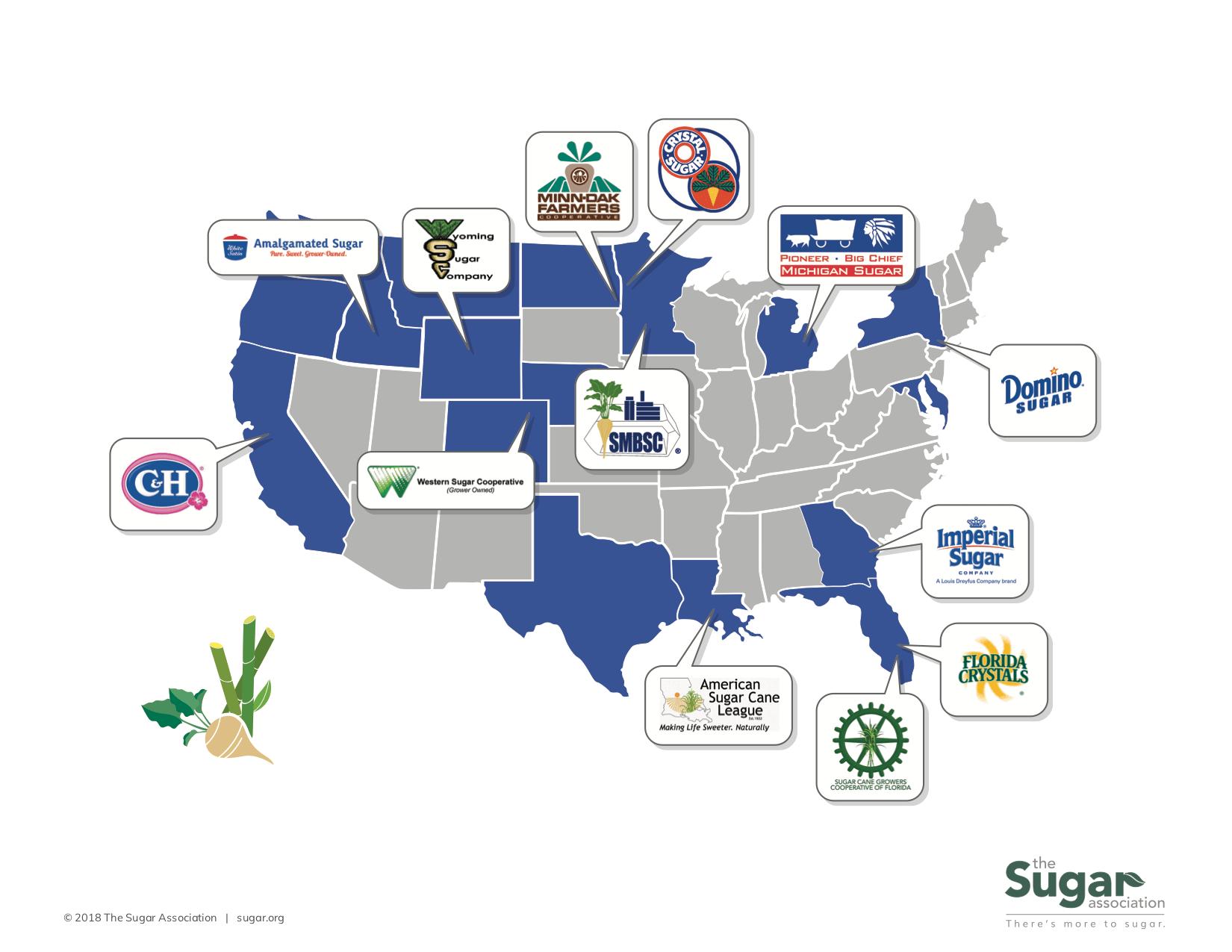 U.S sugar map graphic member logos