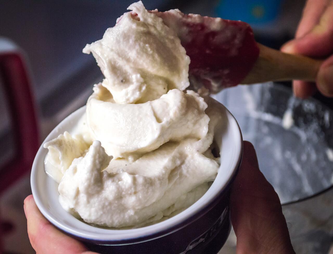 home made ice cream with sugar