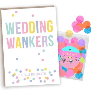 confetti Wedding wankers card