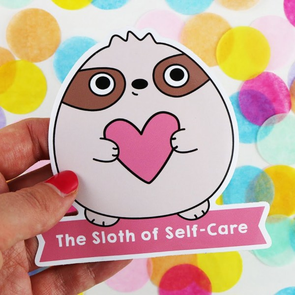 the sloth of self care cute sticker