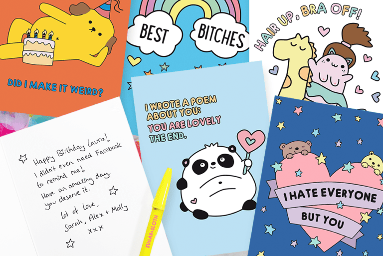 Cute and funny cards with a handwritten message