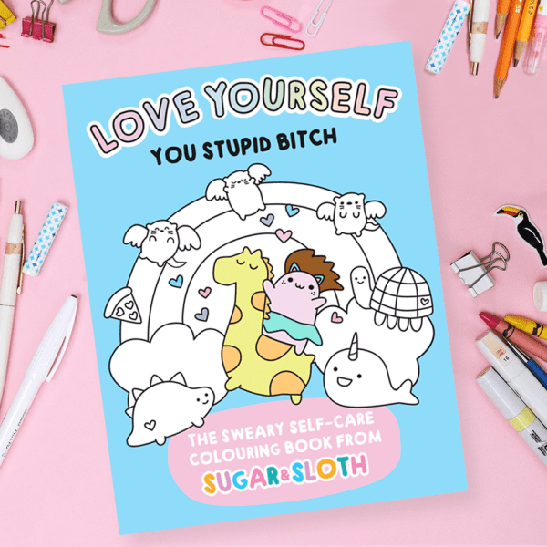 sweary adult self-care colouring book