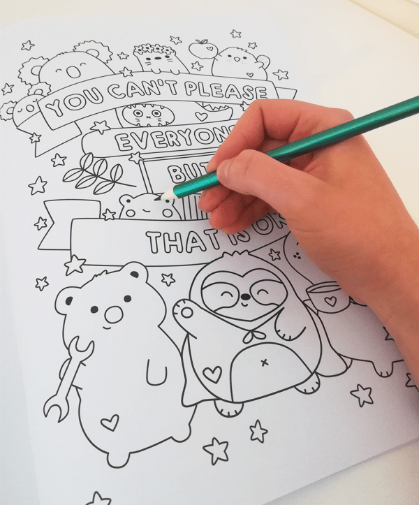 Cute adult colouring book