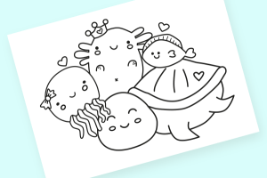 axolotl colouring sheet