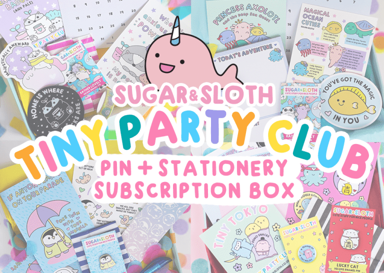 Tiny Party Club pin and stationery subscription box