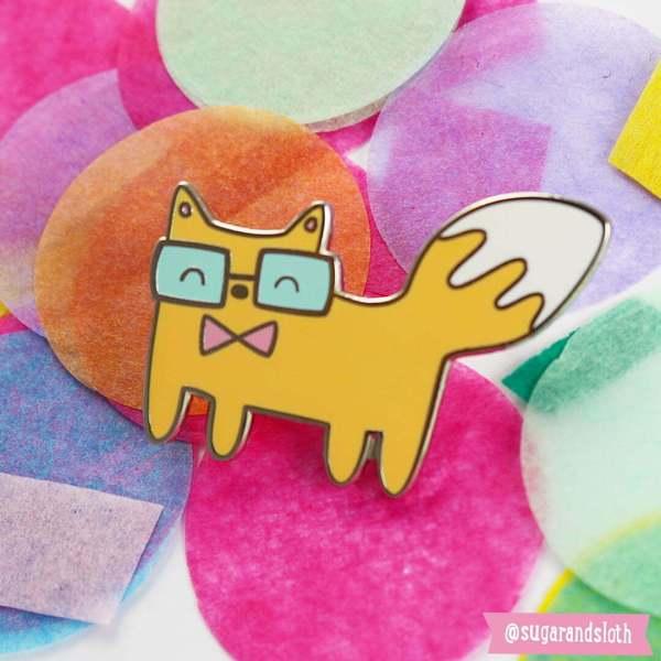 Geeky Fox enamel pin