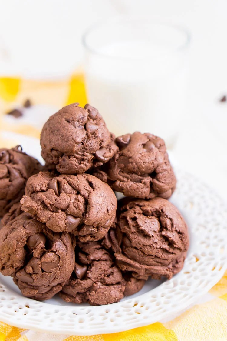 These Double Chocolate Chip Pudding Cookies have a slightly crisp outer shell and are chewy and gooey on the inside almost like a brownie. Pull the first batch out of the oven in 30 minutes!