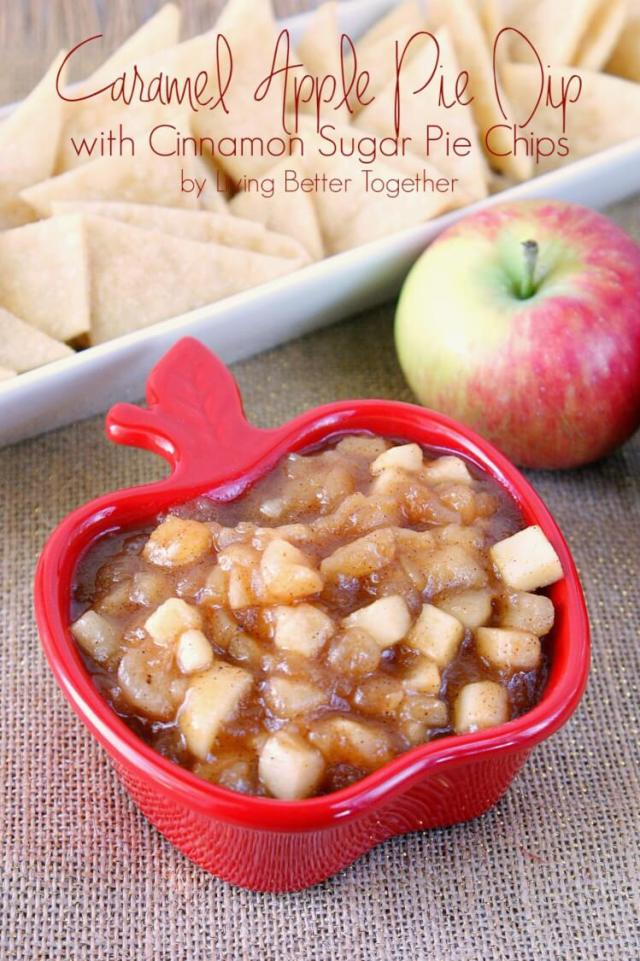 Caramel Apple Pie Dip with Cinnamon Sugar Pie Chips | Living Better Together