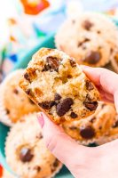These Chocolate Chip Muffins are just the thing to start or end your day! A little dense and a little sweet, these cookie-like muffins are like eating dessert for breakfast!
