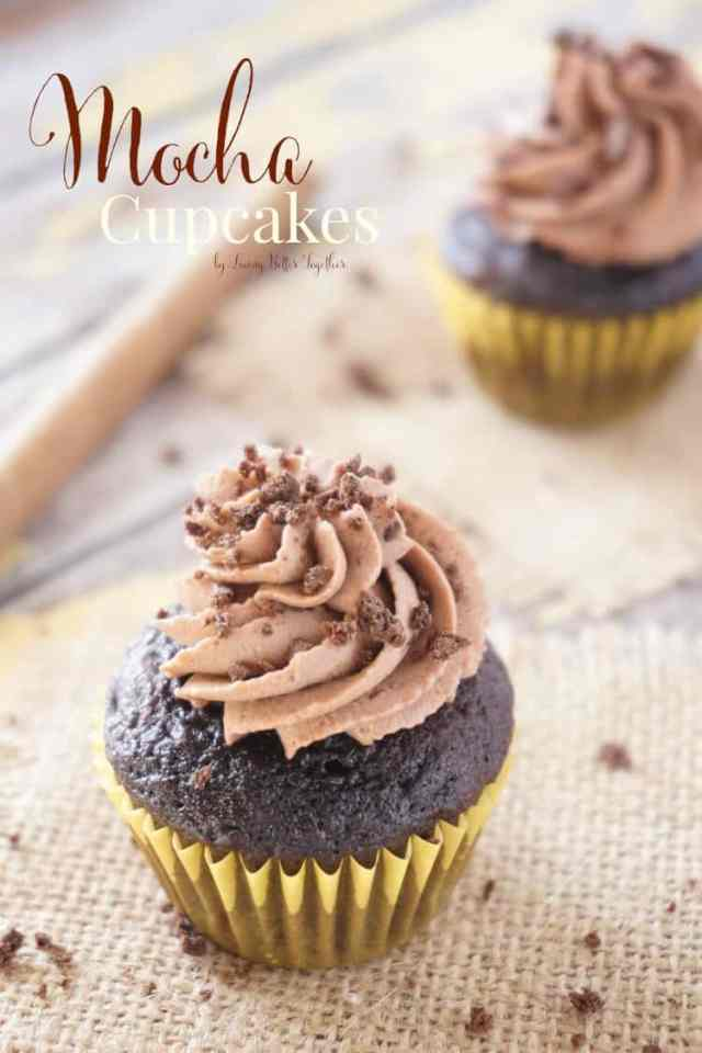 These Mocha Cupcakes are rich and chocolaty with a hint of coffee thanks to the Whipped Mocha Frosting they're topped with.