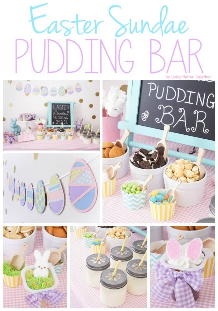 This Easter Sundae Pudding Bar with Snack Pack is the perfect way to celebrate with family! Such an easy and fun way to welcome spring!