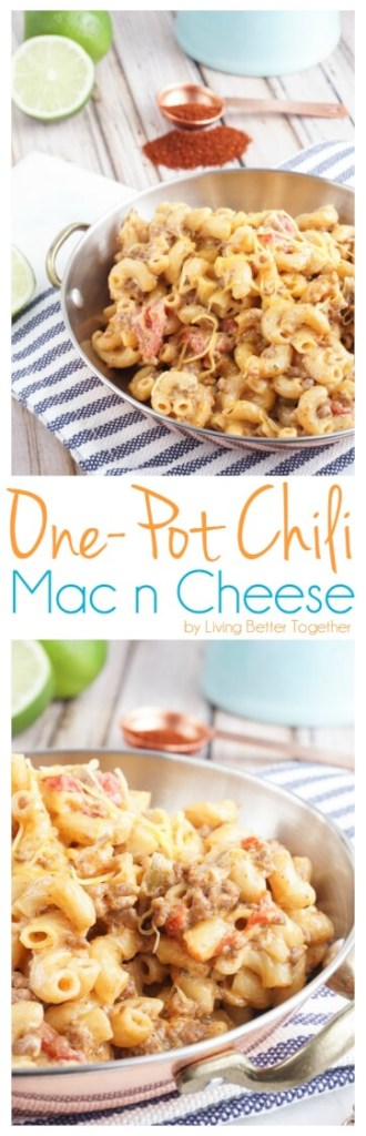 This One-Pot Chili Mac n Cheese is the perfect thing for lazy Sundays or a weeknight dinner. It's ready in 30 minutes and combines two of the BEST comfort foods around!