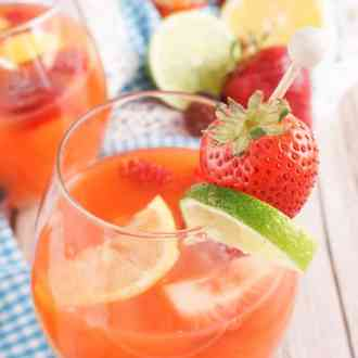 This Mixed Fruit Sangria Mocktail is just the thing to kick off the summer months with! It's easy, delicious, and perfect for any age!
