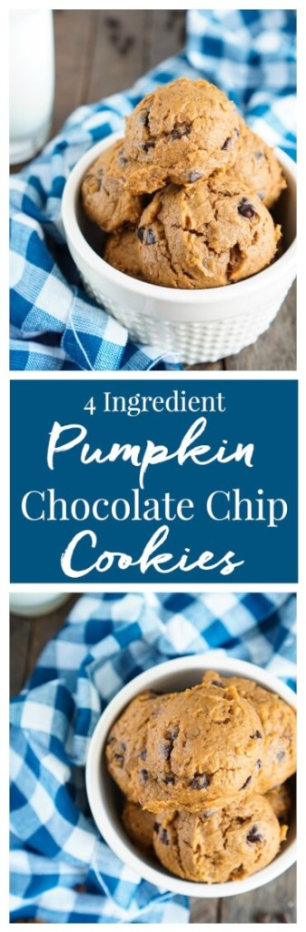 These 4Ingredient Pumpkin Chocolate Chip Cookies are the BEST! You'll love how moist and fluffy they are and so easy to make too! The first batch is ready in just 20 minutes!