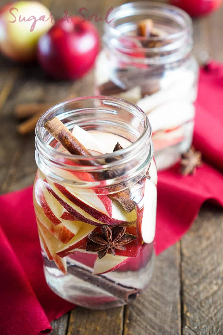 This Apple Spice Detox Water is a simple infusion and a great way to enjoy the flavors of fall without all the sugar! Made with fresh apples, cinnamon, star anise, and water!