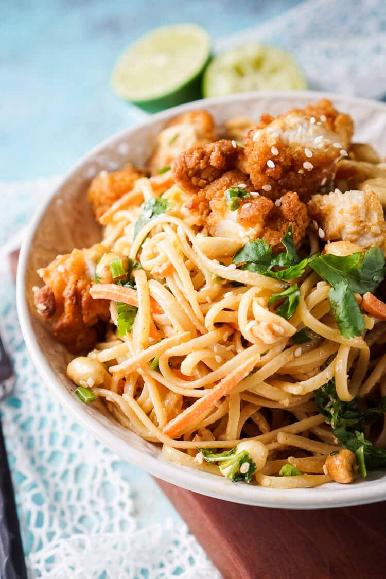 These Crispy Chicken Thai Peanut Noodles are a quick and easy meal that's perfect for weeknights! Crispy chicken tenders add a bit of crunch to this simple Thai inspired dish, on the table in just 30 minutes!
