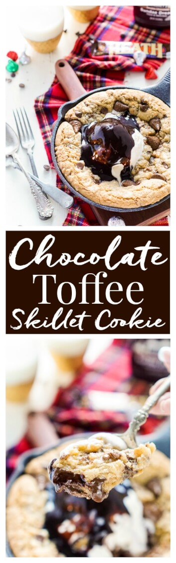 This Chocolate Toffee Skillet Cookie is the ultimate family dessert ...