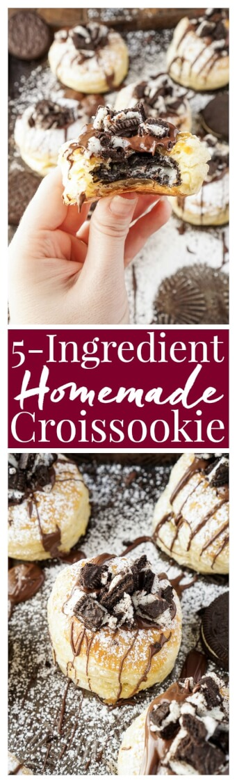 These Croissookies were SO GOOD! They're so much easier to make at home than they looks! You only need 5 ingredients and they're ready in less than 30 minutes! They taste like a fried Oreo! No special tools or equipment needed! Such an EASY and AWESOME dessert!
