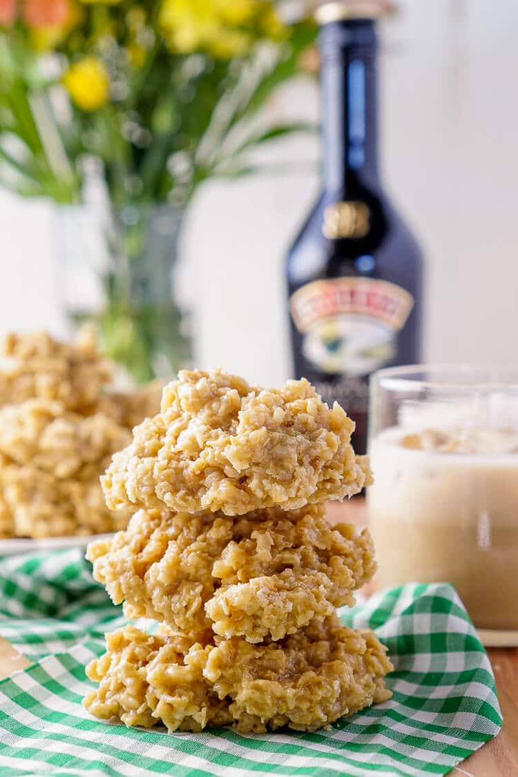 These Irish Cream No Bake Cookies are a boozy twist on the classic cookie recipe! Irish cream combined with sugar, butter, and oatmeal for a richly sweet treat that's perfect for St. Patrick's Day!