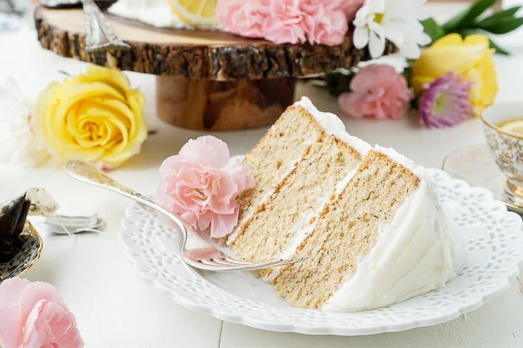 This Earl Grey Cake with Lemon Buttercream is the perfect afternoon dessert for tea lovers inspired by Alice Through the Looking Glass.