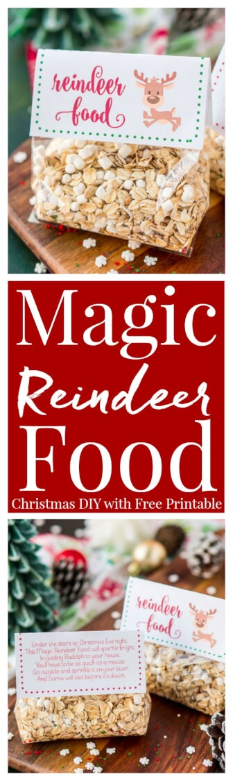 Magic Reindeer Food is a simple and fun Christmas tradition! Make it in minutes with pantry staples and snag these FREE printable poem labels to package it up for the kids to spread on the lawn to guide Rudolph and Santa to your house on Christmas Eve!