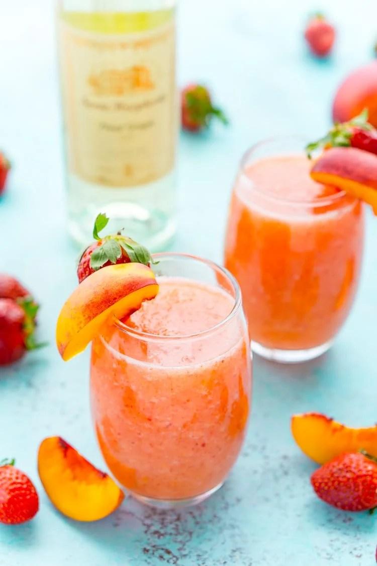 Strawberry Peach Wine Slushies Recipe Sugar Soul