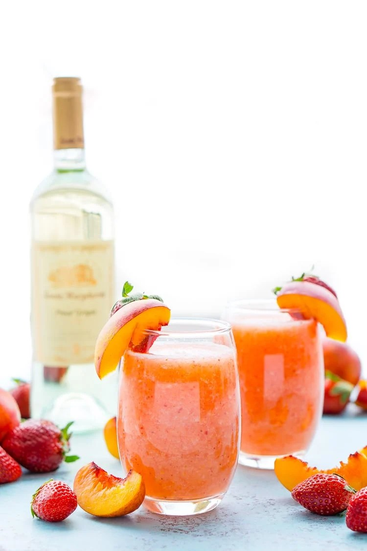 Strawberry Peach Wine Slushies Recipe Sugar Soul