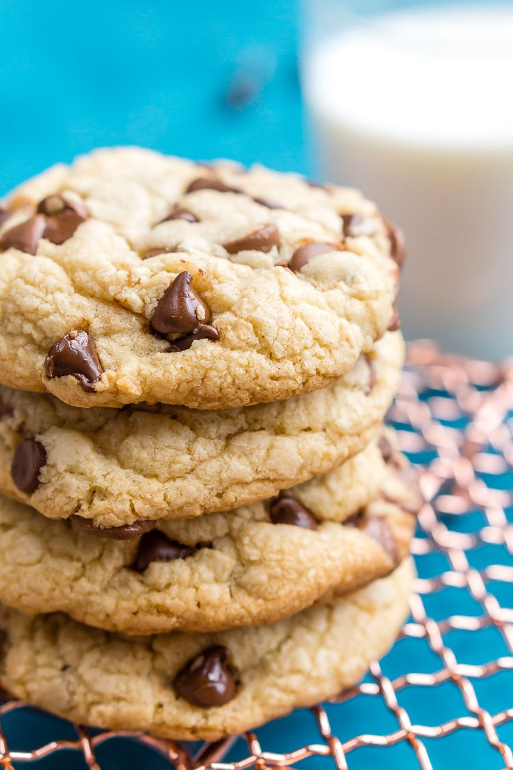 These Bakery Style Chocolate Chip Cookies are perfection! They're big, thick, and chewy and loaded with milk and semisweet chocolate chips!