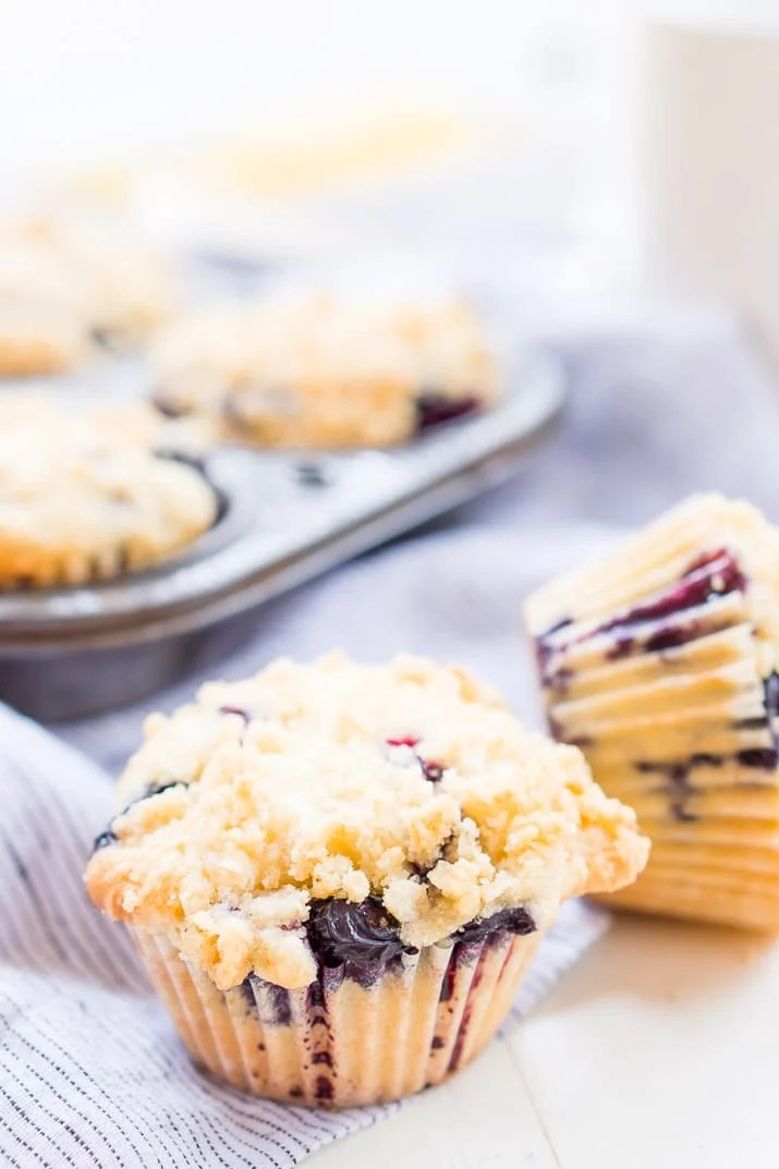 Blueberry Muffins are made with tangy buttermilk and delicious blueberries for a yummy breakfast muffin topped with a sugary butter crumble.