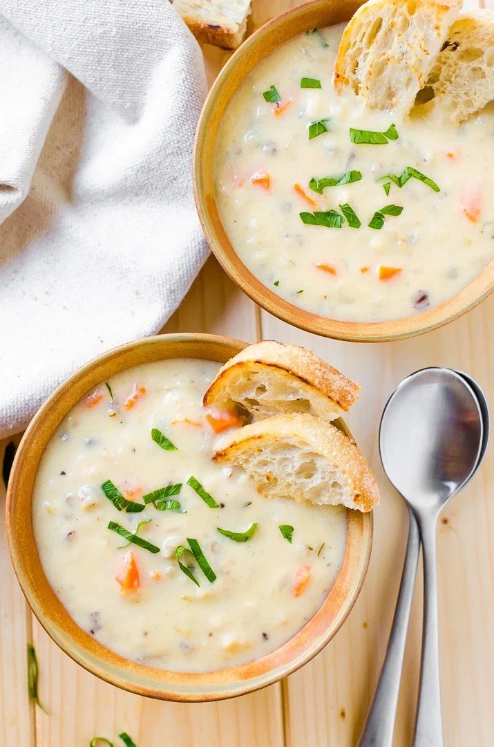Creamy Wild Rice Soup is the perfect slow cookersoup for cold winter nights.