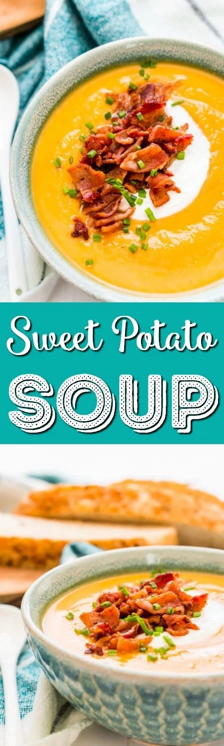 This Sweet Potato Soup is a creamy and filling dinner recipe that's made on the stovetop with onion, sweet potatoes, cream, stock, garlic, and spices! A comforting soup recipe for special occasions or chilly nights!