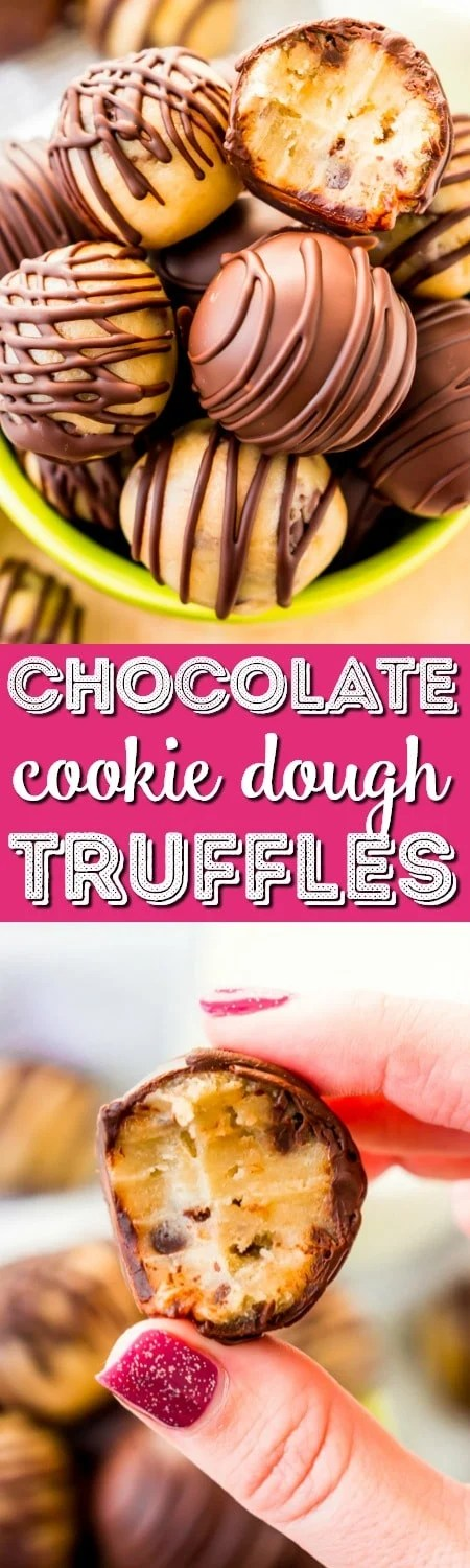 These Cookie Dough Truffles are easy to make, safe to eat, and totally addictive! These chocolate covered treats perfect for parties, game days, or to satisfy cravings any time of the day or night.