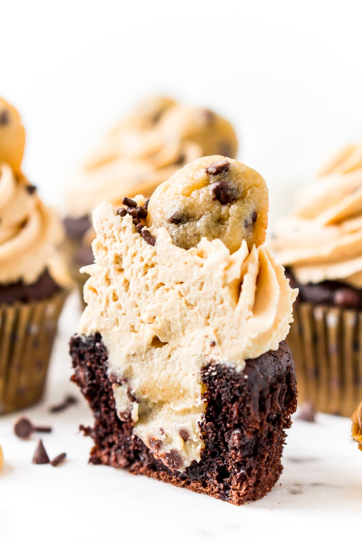 Cookie Dough Stuffed Cupcakes with Peanut Butter Frosting
