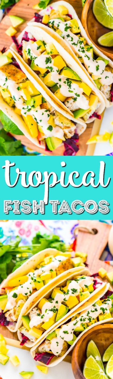 This Fish Tacos Recipe is an easy dinner recipe made with frozen tilapia, flour tortillas, pickled cabbage, avocado, mango, cilantro, and lime juice. It's a simple and light and only takes about 30 minutes to make!