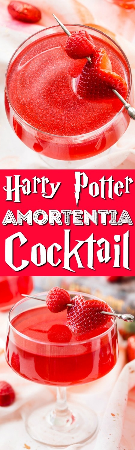 This Harry Potter Amortentia Cocktail is made with cranberry juice, vodka, grenadine and pearl dust! It's the perfect sweet and shimmery love potion to serve up for Valentine's Day or any other special occasion. #harrypotter #lovepotion #cocktail #vodka #cranberry #valentinesday #recipe