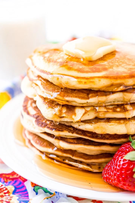Buttermilk Pancakes on White Plate