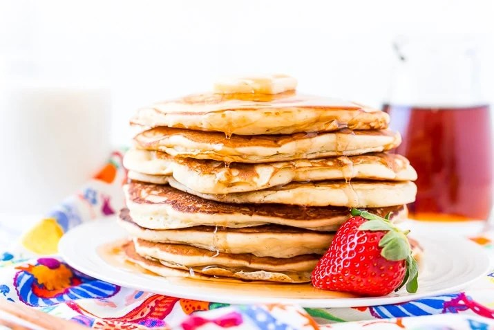 Buttermilk Pancakes and Strawberry on White Plate