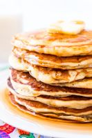 The Best Homemade Buttermilk Pancakes are the perfect weekend breakfast! They're made from scratch and super fluffy and buttery and delicious! Just top with butter and syrup and you're golden!