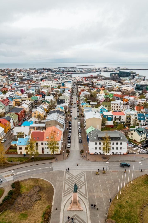 Bird's eye view of Reykjavik, iceland