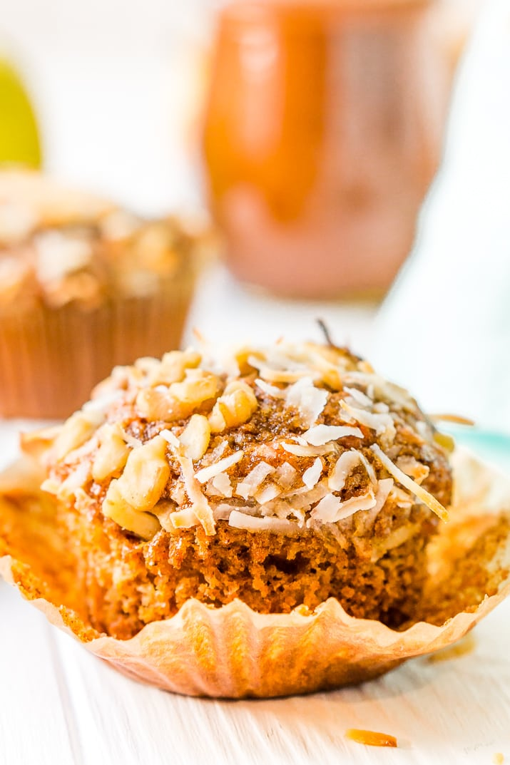 Morning Glory Muffins are a wholesome breakfast or snack recipe made with whole wheat flour and loaded with craisins, carrots, apple butter, walnuts, and more!