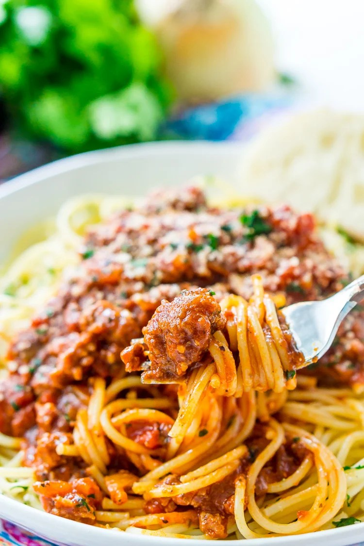 This Easy Spaghetti Bolognese Sauce Recipe is a simple take on an authentic and traditional Italian meal. Loaded with ground beef and spices and laced with Merlot wine, this quick tomato based sauce is bound to be a wholesome family favorite.