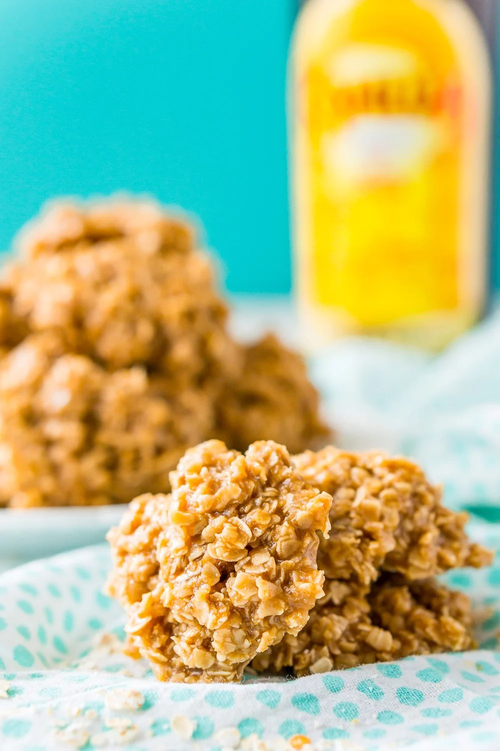 Kahlua No Bake Cookies with white and blue napkin.