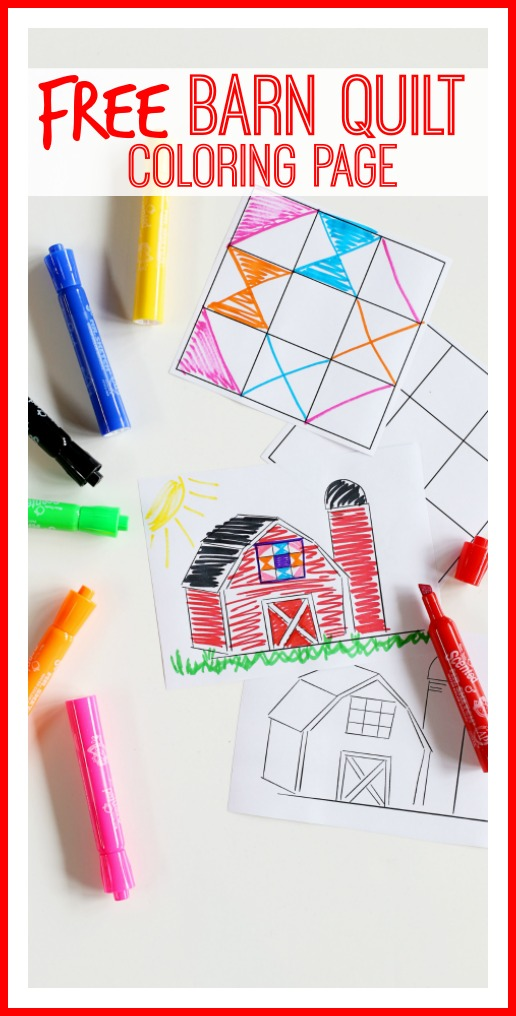 Barn Quilt Coloring Page Sugar Bee Crafts